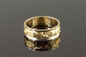 14k fancy scroll two tone men39s wedding band yellow gold With size 12 wedding rings