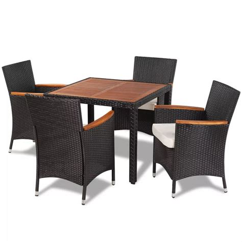 best table and chairs vidaxl poly rattan garden dining set with 4 chairs and