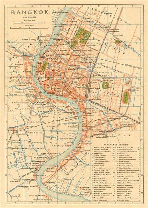bangkok map  map  bangkok thailand archival