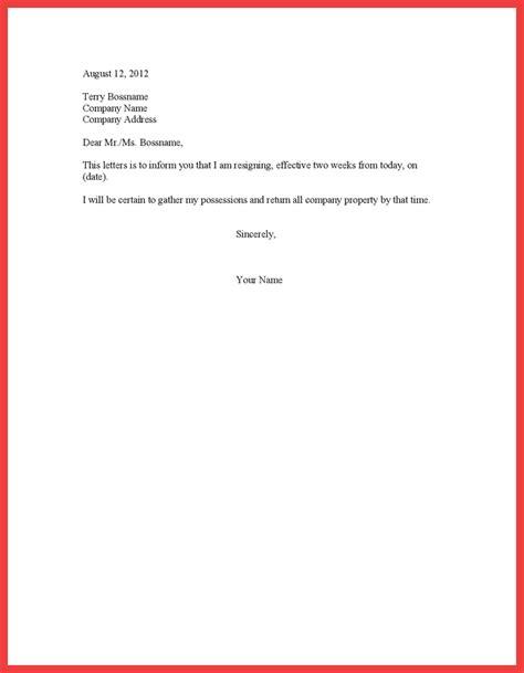 week resignation letter memo