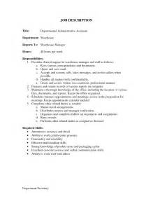 duties of a assistant for a resume administrative assistant description office sle slebusinessresume