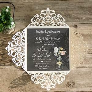 ivory laser cut chalkboard mason jar rustic wedding With laser cut metal wedding invitations