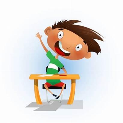 Boy Cartoon Sitting Clever Vector Clip Homework