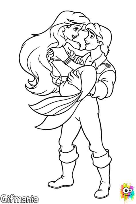 Kleurplaat Ariel Eric by Ariel And Eric Coloring Page