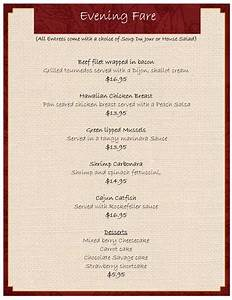 Dinner Menu Template | tristarhomecareinc