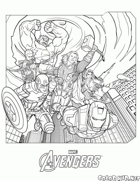 coloring page the avengers