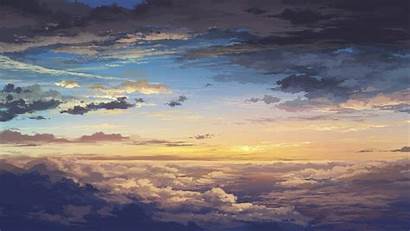 Sky Clouds Anime Painted Wallpapers Background Earth