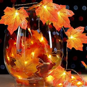 Thanksgiving, Decorations, Lighted, Fall, Garland, 9, 84ft, 30, Led, Maple, Leaves, Lights, Thanksgiving