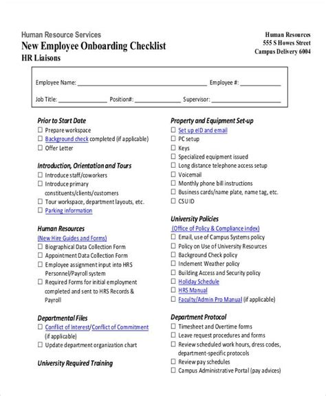 hr checklist examples samples   word