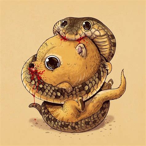 cute gruesome animal drawings predator prey alex solis