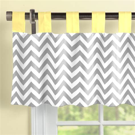 grey and yellow valance gray and yellow zig zag window valance tab top carousel