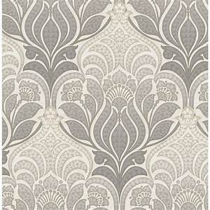 Kenneth James Twill Charcoal Damask Wallpaper