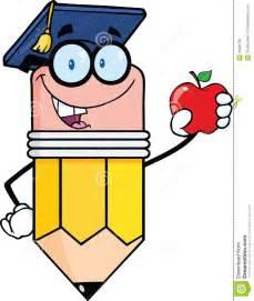 graduation cap frame pencil with graduate hat holding a apple stock