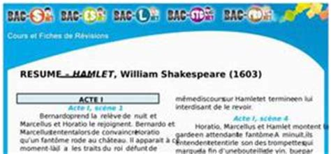 Hamlet Resume En Francais r 233 sum 233 par acte de hamlet