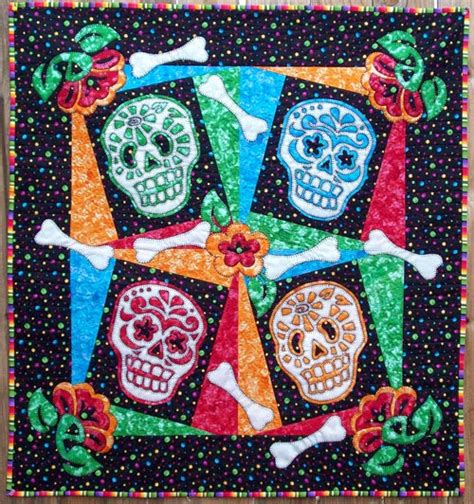 sugar skull quilt quilt inspiration quilts and free patterns for dia de