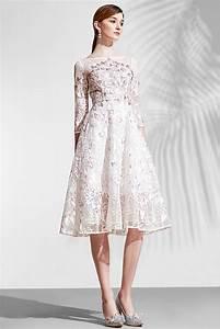 Robe Mi Longue Mariage : chic robe rose patineuse en dentelle avec manche longue pour t moin mariage ~ Melissatoandfro.com Idées de Décoration