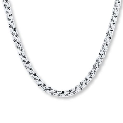 mens chain link necklace  white gold  length