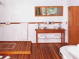 Sol Bois Salle De Bain : les salles de bains en bois maison travaux ~ Premium-room.com Idées de Décoration