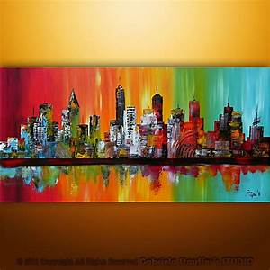 Large, Painting, Abstract, Original, Modern, Cityscape, Art, By