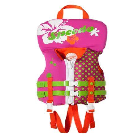 speedo infant girls pink polka dot neoprene life jacket