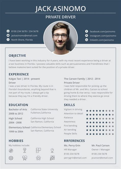 driver resume template   word  document