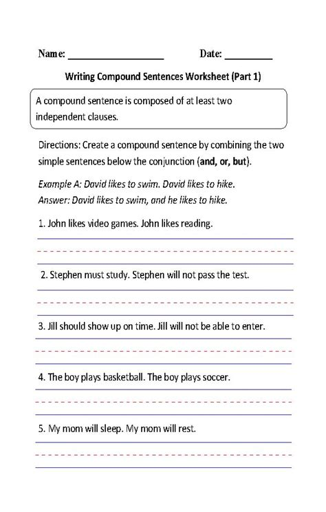 combine 2 sentence to form compund and complex sentence worksheet writing compound sentences worksheet part 1 4th grade