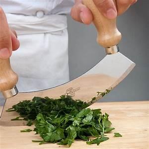 "7 3/4"" Single Blade Mezzaluna Knife with Double Wooden Handles  Mezzaluna"