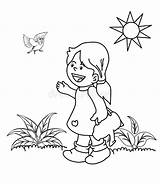 Garden Coloring Sun Sprinkler Kid Drawn Birds Plants Hand Dreamstime Illustrations Clipart Vectors sketch template