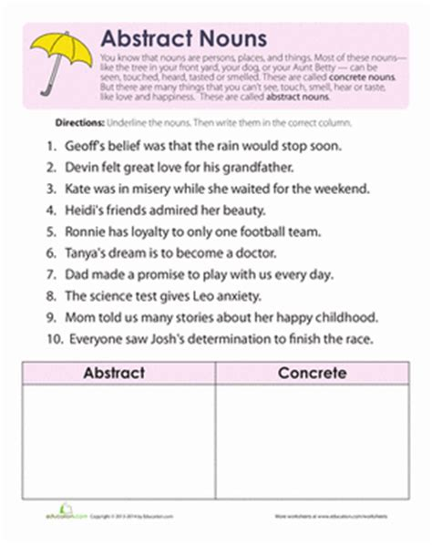 what are abstract nouns abstract nouns third grade