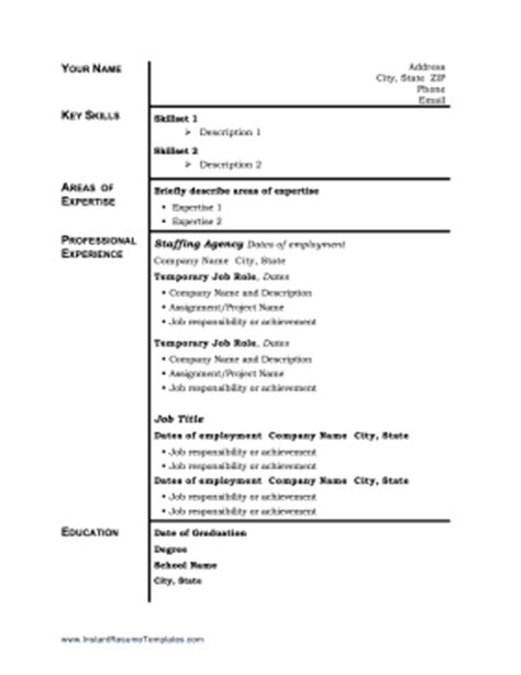 temp work resume template