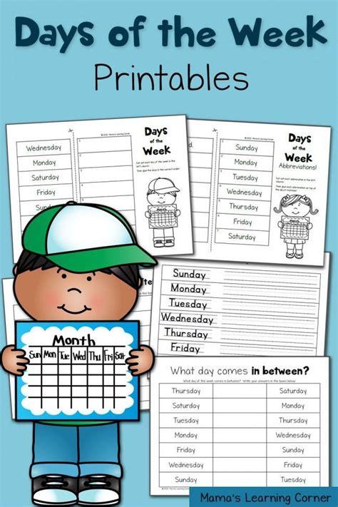 days   week worksheets style printables  cut