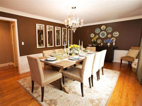 brown dining room  plate wall display hgtv