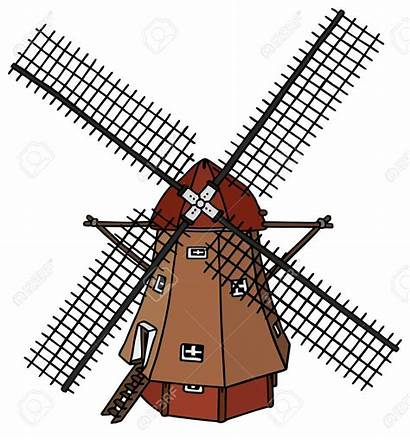 Windmill Dutch Clipart Drawing Wind Mill Vector