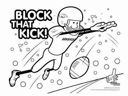 Coloring Football Pages Arkansas Razorbacks Michigan Alabama