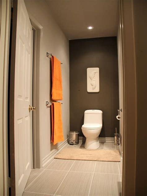 gray  orange accent wall  toilet area orange