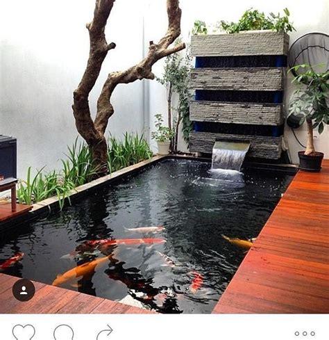 desain kolam ikan mini  taman belakang rumah kolam