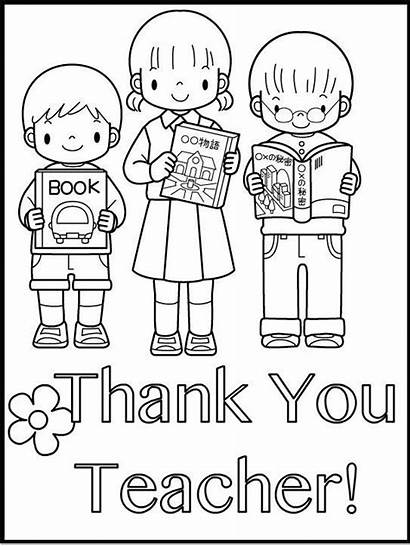 Coloring Pages Teacher Thank Teachers Card Students