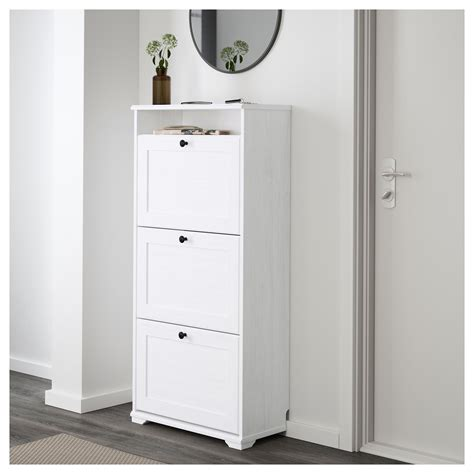 white shoe cabinet brusali shoe cabinet with 3 compartments white 61x130 cm