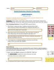 This paper is adapted from a living by chemistry lesson on electron configuration. Electron Configuration Gizmo (1).pdf - Name Ayesha Date Student Exploration Electron ...