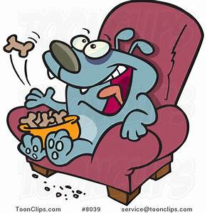 Cartoon Lazy Dog Eating Biscuits on a Chair #8039 by Ron ...