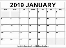 Printable January 2019 Calendar Templates 123CalendarsCom