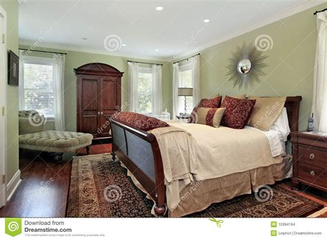 Master Bedroom With Green Walls Stock Photo