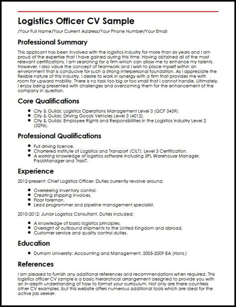 logistics officer cv sle myperfectcv