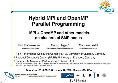 tutorial hybrid mpi  openmp parallel