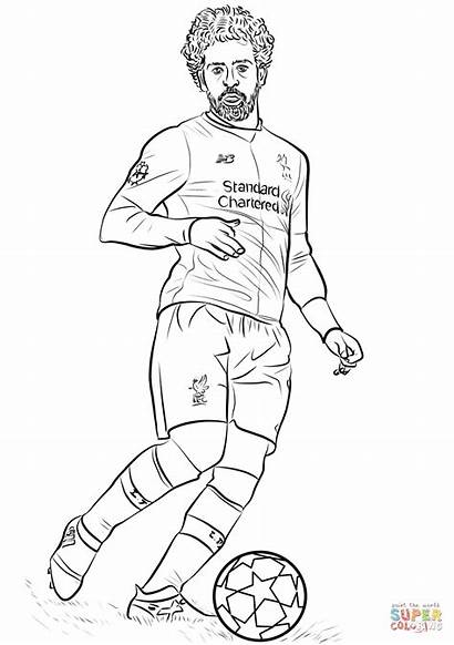 Salah Coloring Mohamed Ronaldo Cristiano Liverpool Colorear