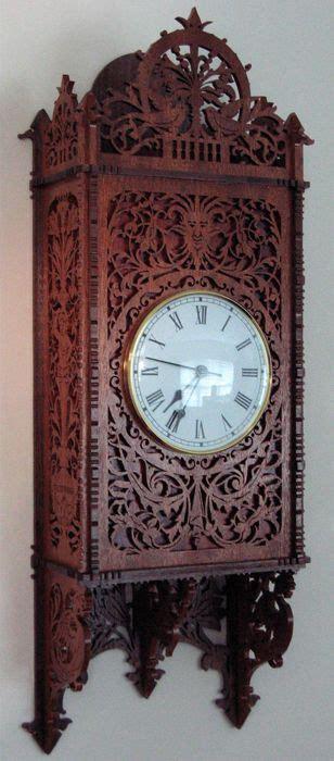 cremona wall clock scroll  fretwork pattern