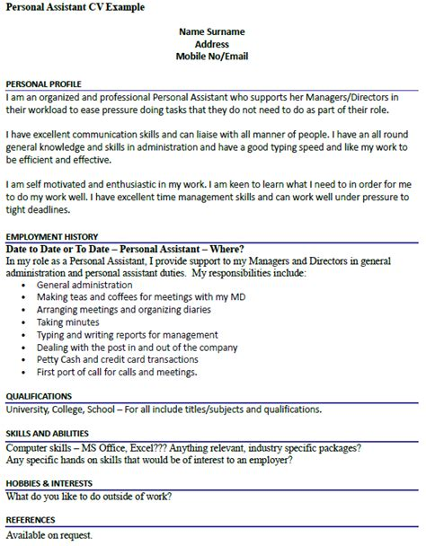 Cv Template For Personal Assistant by Personal Assistant Cv Exle Resume