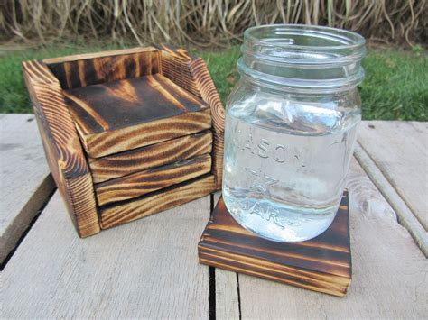 Hand Crafted Coaster Set Of 4 With Holder Made From