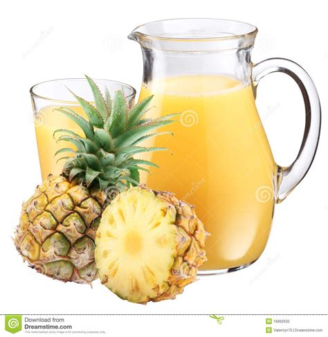 Pineapple juice and fruit stock photo Image of