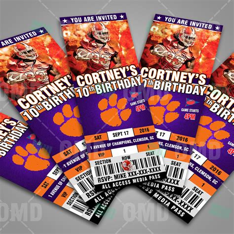 clemson tigers ultimate party package sports invites